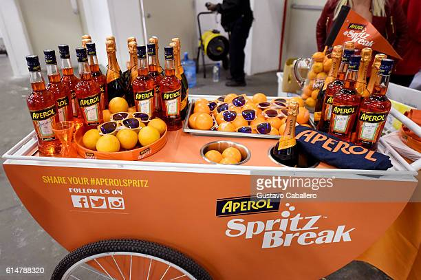 A view of the Aperol Spritz Break booth at the Southern Glazer's Wine Spirits Trade Day presented by Beverage Media at Pier 94 on October 14 2016 in...