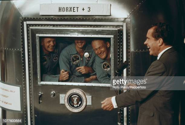 View of the Apollo 11 crew of from left Commander Neil Armstrong Command Module Pilot Michael Collins and Lunar Module Pilot Buzz Aldrin pictured...