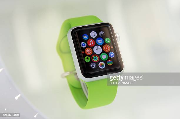 View of the Apple watch displayed in a shop on the SaintHonore street a day after after the unveiling of the new and highly anticipated product in...