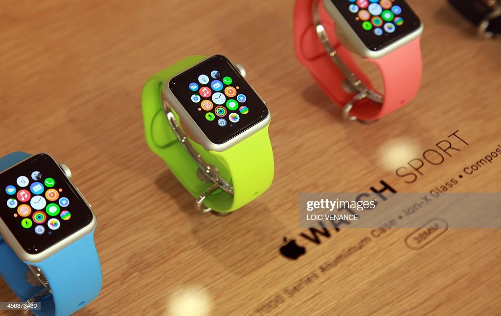 View of the Apple watch displayed in a shop on the Saint-Honore street, a day after after the unveiling of the new and highly anticipated product in Paris on September 30, 2014.