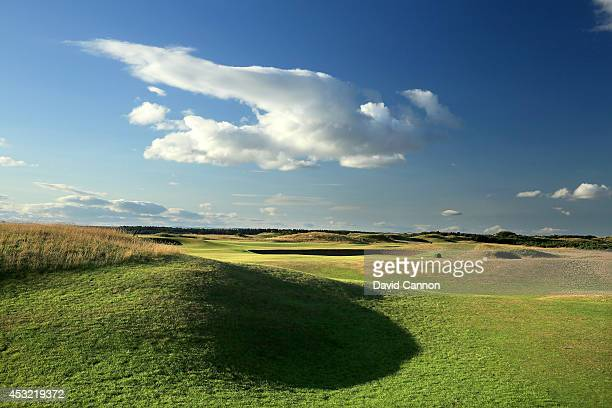 A view of the approach to the green on the 371 yards par 4 7th hole on the Old Course at St Andrews venue for The Open Championship in 2015 on July...