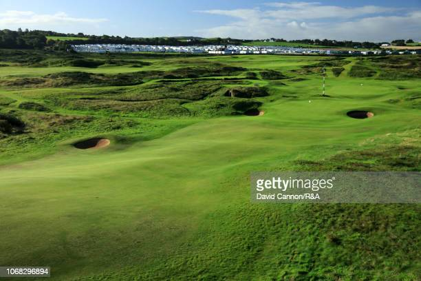 View of the approach to the green on the 405 yards par 4 17th hole 'Purgatory' with the 13th green behind at Royal Portrush Golf Club the venue for...