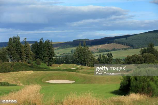 View of the approach to the green on the 464 yards par 4, 13th hole on the King's Course at The Gleneagles Hotel on August 9, 2017 in Auchterarder,...