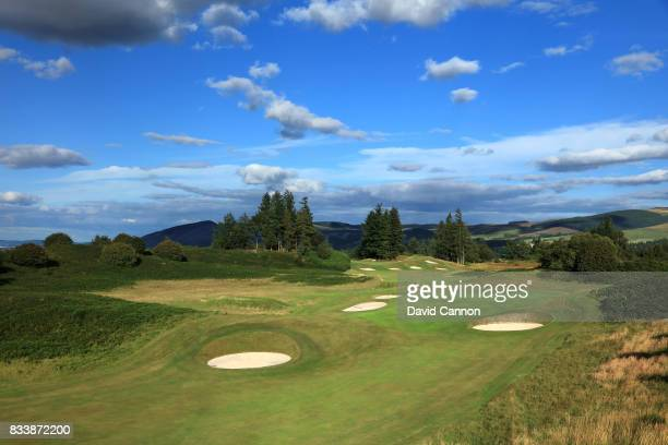 View of the approach to the green on the 464 yards par 4, 13th hole with the 309 yards par 4, 14th hole behind on the King's Course at The Gleneagles...