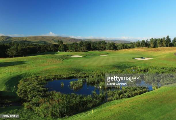 View of the approach to the green on the 543 yards par 5, 16th hole on the PGA Centenary Course at The Gleneagles Hotel on August 7, 2017 in...