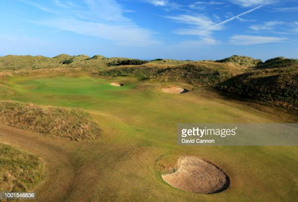 A view of the approach to the green on the 590 yards par 5 seventh hole 'Curran Point' on the Dunluce Links at Royal Portrush Golf Club the venue for...