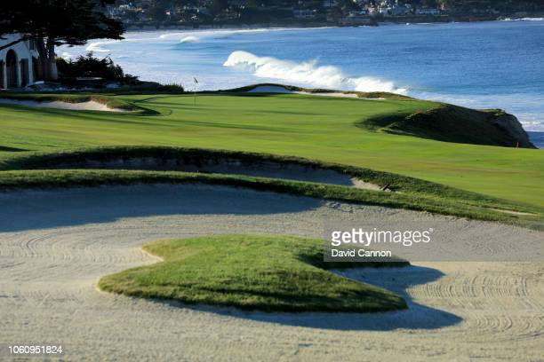 A view of the approach to the green on the par 4 10th hole at Pebble Beach Golf Links the host venue for the 2019 US Open Championship on November 8...