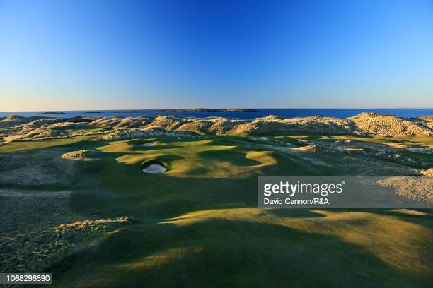 View of the approach to the green on the par 4, 15th hole 'Skerries' at Royal Portrush Golf Club the host venue for The Open Championship in 2019 on...