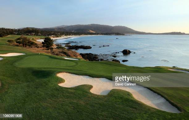 View of the approach to the green on the par 4, eighth hole at Pebble Beach Golf Links the host venue for the 2019 US Open Championship on November...