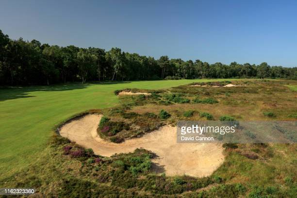 A view of the approach to the green on the par 4 seventh hole on the Hotchkin Course at Woodhall Spa Golf Club on June 28 2019 in Woodhall Spa England
