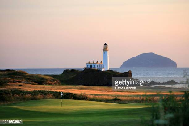 A view of the approach to the green on the par 5 11th hole on the King Robert the Bruce Course at the Trump Turnberry Resort on July 29 2018 in...