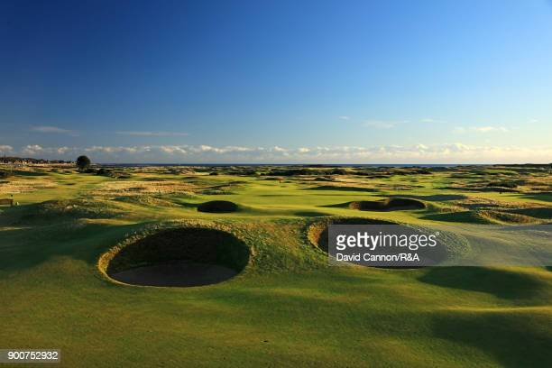 A view of the approach to the green on the par 5 14th hole 'Spectacles Bunkers' on the Championship Links at Carnoustie the host course for the 2018...