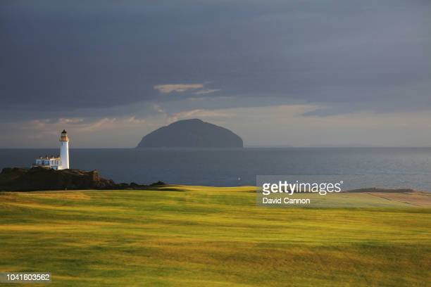 A view of the approach to the green on the par 5 eighth hole on the King Robert the Bruce Course at the Trump Turnberry Resort on July 29 2018 in...