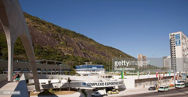 View of the arch and footbridge projected by Brazilian architect Oscar Niemeyer as part of the Rocinha Sports Complex project located at the...