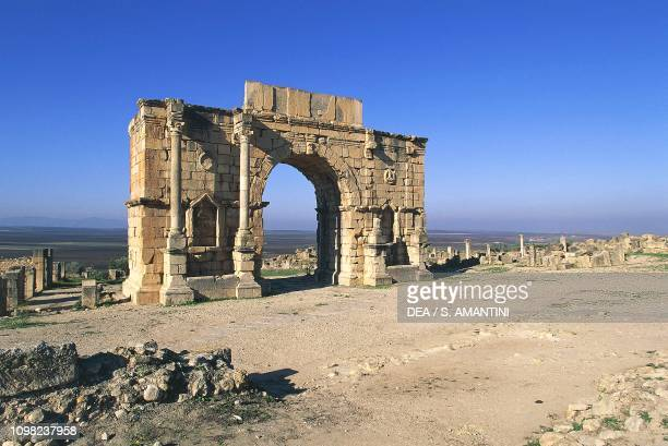 View of the Arch of Caracalla, 216-217 AD, archaeological site of Volubilis , near Meknes, Morocco. Roman civilization, 3rd century AD.