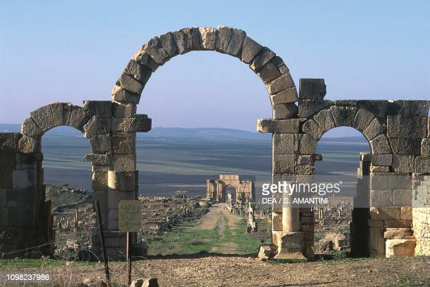 View of the Arch of Caracalla from the Tingis Gate, archaeological site of Volubilis , near Meknes, Morocco. Roman civilization, 2nd-3rd century AD.