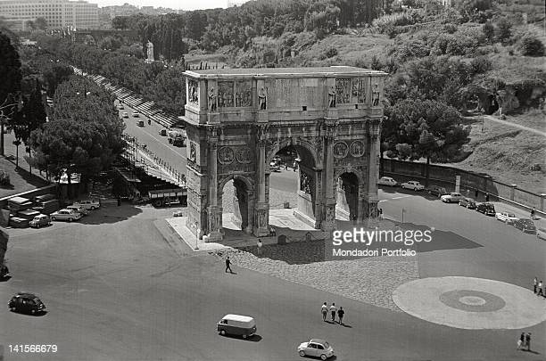 View of the Arch of Constantine from above during Rome Olympics Rome 1960