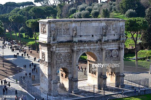 A view of the Arch of Constantine taken from the Colosseum on January 18 2013 in Rome Traces of decorations in blue red and greenwere found in a...