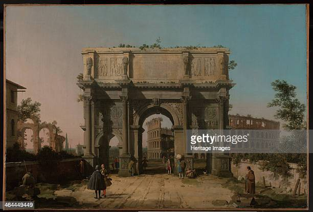 View of the Arch of Constantine with the Colosseum 17421745 Found in the collection of the J Paul Getty Museum Los Angeles
