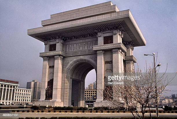 View of the Arch of Triumph situated in the North Korean capital Pyongyang Like so many other monuments in this showpiece city it symbolizes freedom...