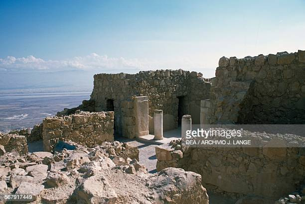 View of the archaeological excavations ancient Masada natural fortress Israel