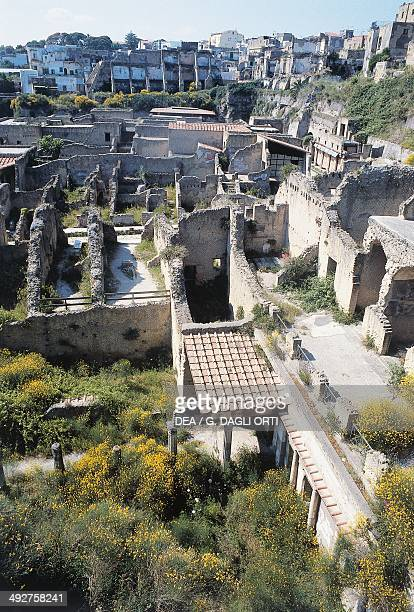 View of the archaeological site of Herculaneum , Campania, Italy. Roman civilization.