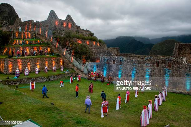 View of the archaeological site of Machu Picchu, in Cusco, Peru during its reopening ceremony on November 01 amid the new coronavirus pandemic. - The...