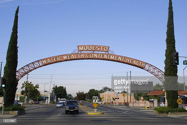 View of the archway leading into the city of Modesto July 5, 2001 in Modesto, CA. Chandra Ann Levy, the daughter of Robert and Susan Levy, just...