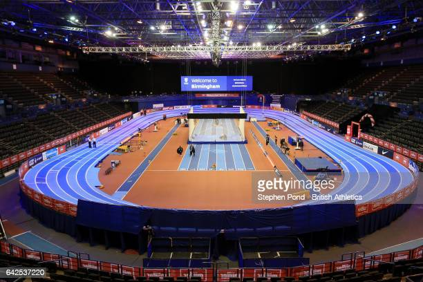 A view of the arena ahead of the Muller Indoor Grand Prix 2017 at the Barclaycard Arena on February 18 2017 in Birmingham England