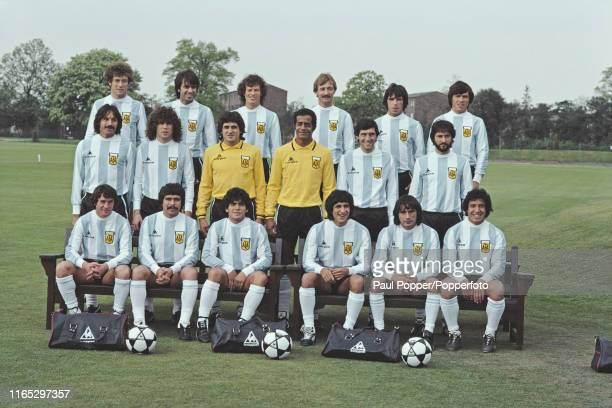 View of the Argentina national football team pictured together on a training pitch prior to playing England in an International Friendly match at...