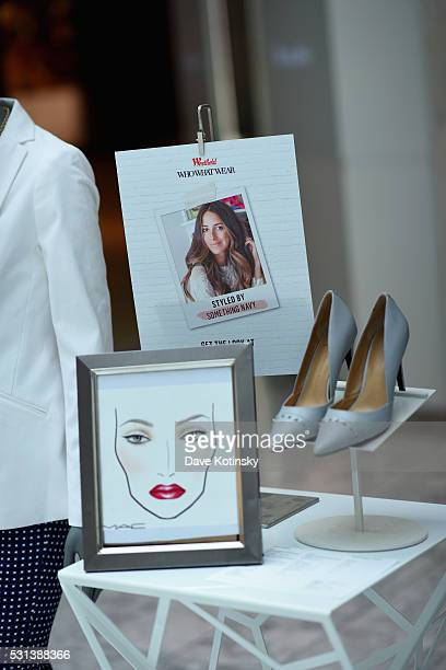 A view of the Arielle Charnas activation at the Westfield x Who What Wear Presents Boss Notes at Westfield Garden State Plaza Mall on May 14 2016 in...