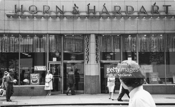 View of the Art Deco exterior of a Horn and Hardart Automat 106 West 50th Street New York New York June 19 1960