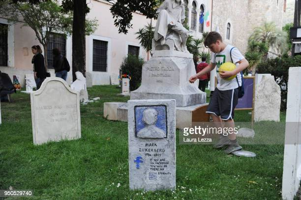 A view of the art installation Eternity with tombstonesand Mark Zuckerberg tomb is displayed after the ceremony where Italian artist Maurizio...