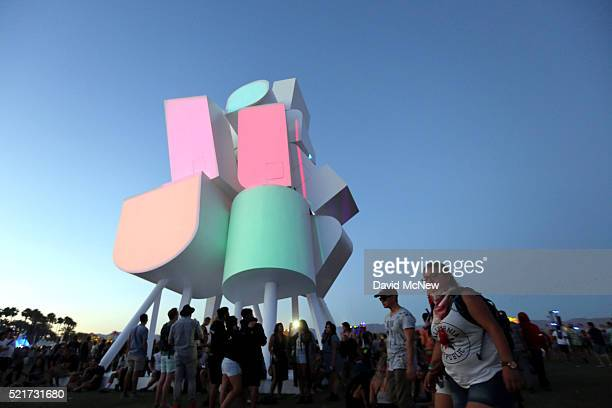 A view of the art installation piece Tower of Twelve Stories by Jimenez Lai of Taiwan/Canada as seen during day 2 of the 2016 Coachella Valley Music...