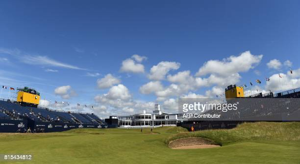 View of the ArtDecostyle clubhouse seen from the 18th fairway during practice at Royal Birkdale golf course near Southport in north west England on...