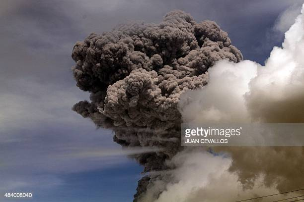View of the ashes spewed by the Cotopaxi volcano in Pichincha province Ecuador on August 14 2015 The volcano spewed a column of ash five kilometers...