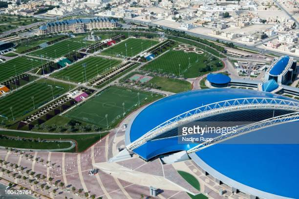 View of the Aspire indoor hall and the trainings ground is taken at the ASPIRE Academy for Sports Excellence on January 6 2013 in Doha Qatar ASPIRE...