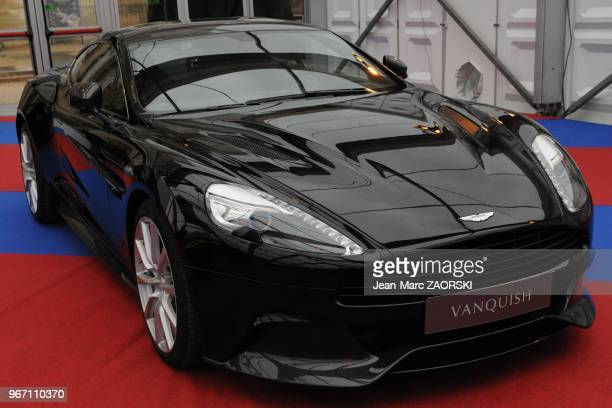 A view of the Aston Martin Vanquish laureate of the prize of the most beautiful supercar shown here at the international exhibition in Hotel des...