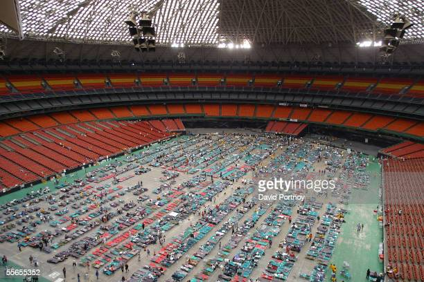 A view of the Astrodome housing thousands of New Orleans evacuees of Hurricane Katrina in Houston Texas on August 31 2005