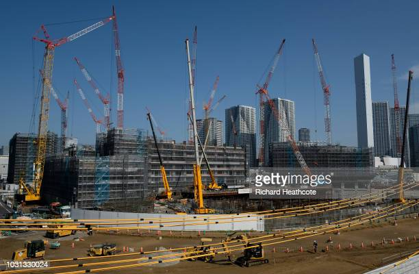 View of the Athletes Olympic village under construction during the First World Press Briefing for the Tokyo 2020 Summer Olympics on September 05,...
