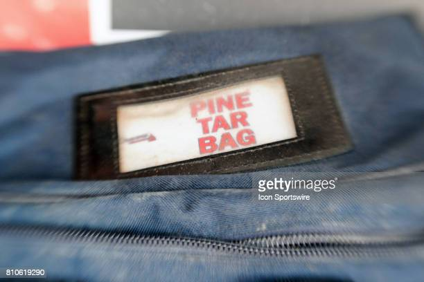 A view of the Atlanta Braves pine tar bag in the dugout prior to an MLB game between the Atlanta Braves and the Washington Nationals on July 7 at...