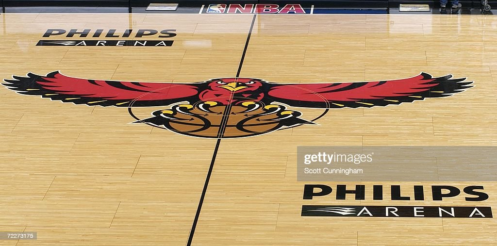View of the Atlanta Hawks logo in center court at Philips Arena prior to a preseason game between the Washington Wizards and the Atlanta Hawks on October 23, 2006 in Atlanta, Georgia. The Wizards won 110-105.