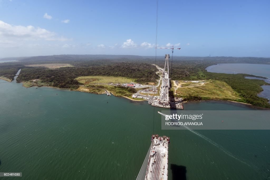View of the Atlantic Bridge under construction over the Panama Canal in Colon, 80 km from Panama City, on February 21, 2018