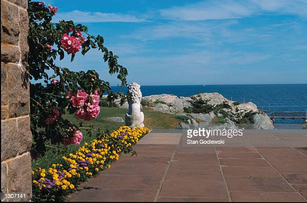 View of the Atlantic Ocean from the back patio of Doris Duke''s summer home called Rough Point July 2000 located near the end of Bellevue Avenue in...