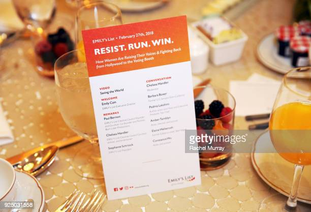 View of the atmosphere at EMILY's List's Resist Run Win PreOscars Brunch on February 27 2018 in Los Angeles California