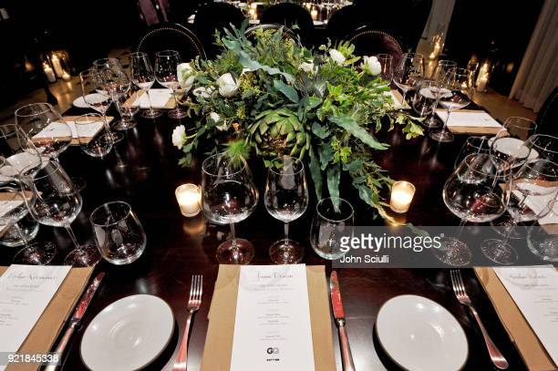View of the atmosphere at GQ and Oliver Peoples Celebrate Timothee Chalamet March Cover Dinner at Nomad Los Angeles on February 20 2018 in Los...