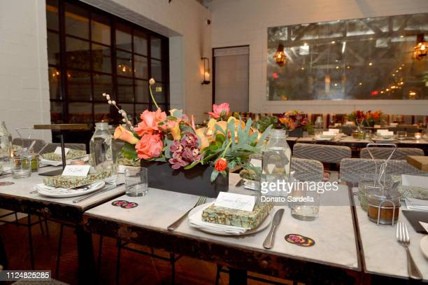 A view of the atmosphere at Liz Goldwyn and MATCHESFASHIONCOM celebrate the launch of Frieze LA at Gracias Madre on February 13 2019 in West...