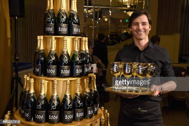 A view of the atmosphere at Moet Chandon Toasts The 75th Annual Golden Globe Awards Nominations at The Beverly Hilton Hotel on December 11 2017 in...