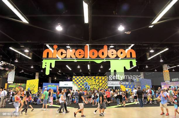 A view of the atmosphere at Nickelodeon's booth at 2018 VidCon at Anaheim Convention Center on June 22 2018 in Anaheim California