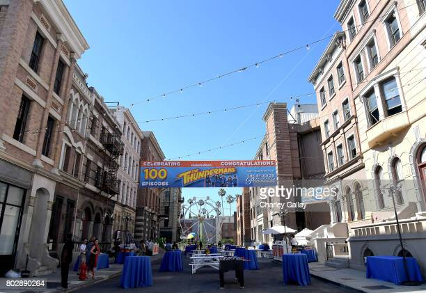 A view of the atmosphere at the 100th episode celebration of Nickelodeon's The Thundermans at Paramount Studios on June 28 2017 in Hollywood...